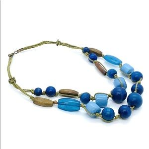 Vintage Necklace Chunky Glass Wood Beads Adjusts